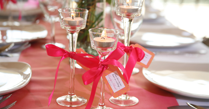 Long-Stem Glass Tealight Candleholder used as wedding favors