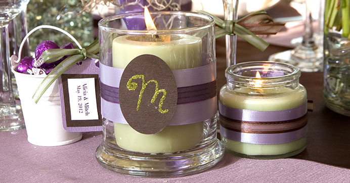 Glass candleholder personalized for your reception