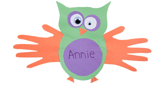 Picassso paper owl craft with student's name