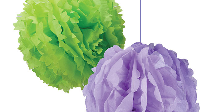 Giant flower decorations made from tissue paper