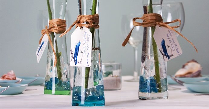 Etched taper stem vases made into wedding favors