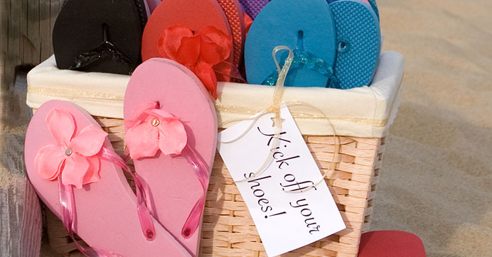 Flip Flops add a casual touch to your wedding reception..
