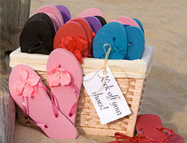 Flip Flops add a casual touch to your wedding reception.