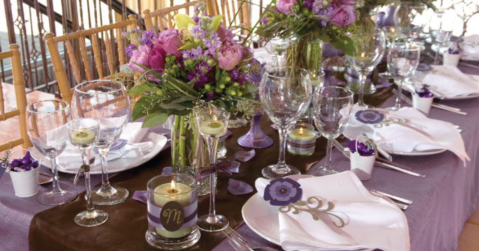 Wedding Reception Table with Purple, Brown, and Sage Green color scheme