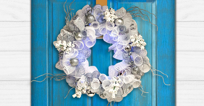 DIY Wintry Deco Mesh Wreath