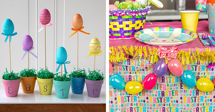 Easter EGGstravaganza Craft Ideas: Egg Table Garland and Egg Topiaries