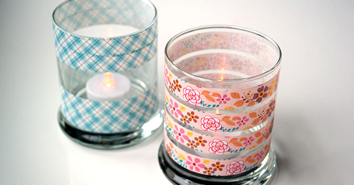 Customize Candleholders with Craft Tape