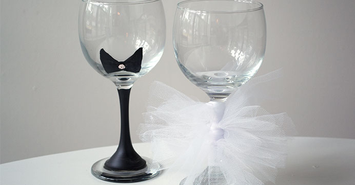 Bride & Groom Painted Champagne Glasses