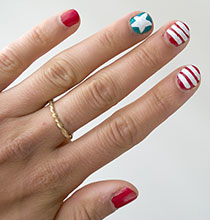 Red White & Blue Nail Art for July Fourth