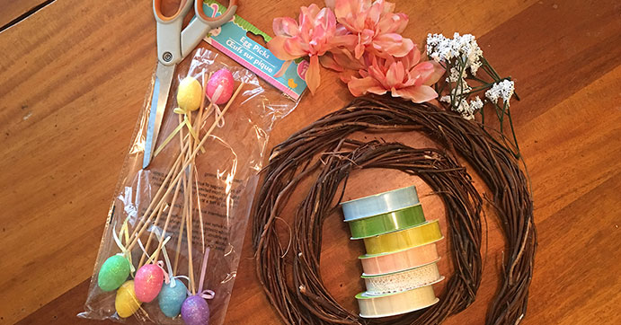 Easter Bunny wreath supplies