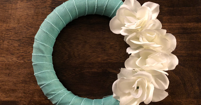 Blue Wrapped Wreath Ribbon