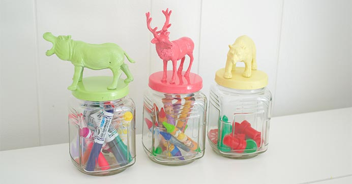 Animal-topped jars