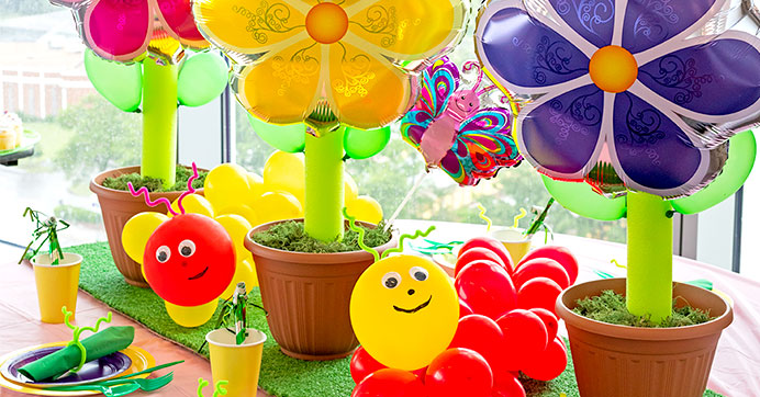 Balloon Flower and Caterpillar Centerpieces